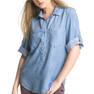 Anthro Cloth & Stone Pop Over Chambray Top